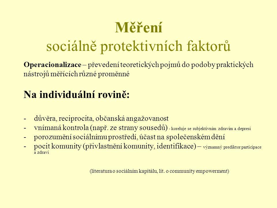 Měření sociálně protektivních faktorů Operacionalizace – převedení teoretických pojmů do podoby praktických nástrojů měřících různé proměnné Na individuální rovině: -důvěra, reciprocita, občanská angažovanost -vnímaná kontrola (např.