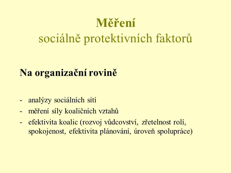 Měření sociálně protektivních faktorů Na organizační rovině -analýzy sociálních sítí -měření síly koaličních vztahů -efektivita koalic (rozvoj vůdcovství, zřetelnost rolí, spokojenost, efektivita plánování, úroveň spolupráce)