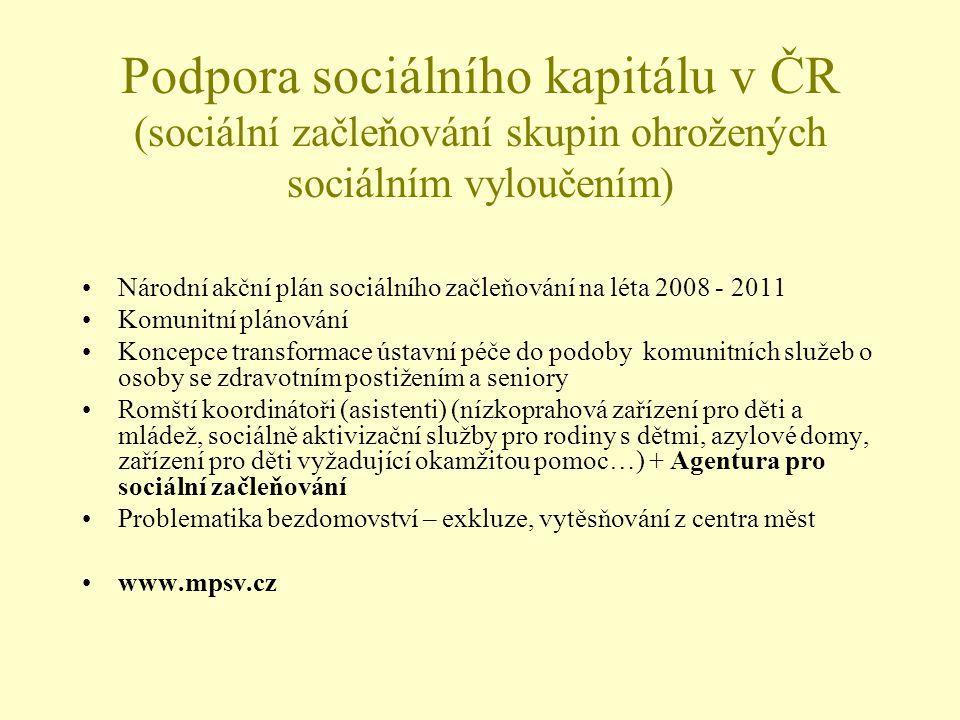 Podpora sociálního kapitálu v ČR (sociální začleňování skupin ohrožených sociálním vyloučením) Národní akční plán sociálního začleňování na léta 2008