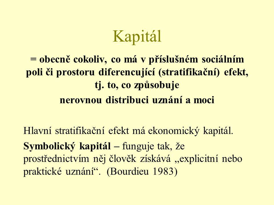Kapitál = obecně cokoliv, co má v příslušném sociálním poli či prostoru diferencující (stratifikační) efekt, tj. to, co způsobuje nerovnou distribuci