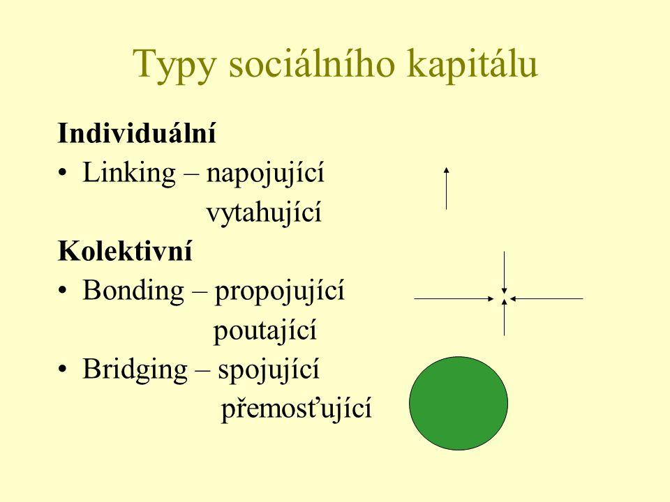 Typy sociálního kapitálu Individuální Linking – napojující vytahující Kolektivní Bonding – propojující poutající Bridging – spojující přemosťující
