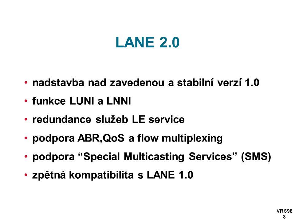 VRS98 3 LANE 2.0 nadstavba nad zavedenou a stabilní verzí 1.0 funkce LUNI a LNNI redundance služeb LE service podpora ABR,QoS a flow multiplexing podpora Special Multicasting Services (SMS) zpětná kompatibilita s LANE 1.0