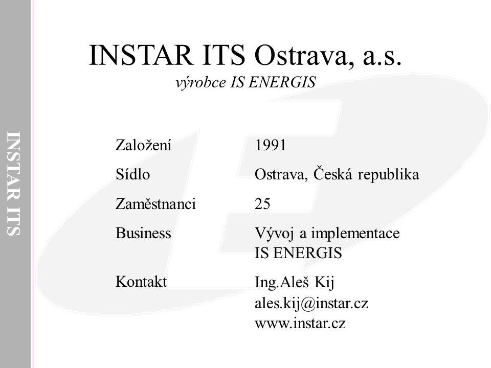 INSTAR ITS INSTAR ITS Ostrava, a.s. výrobce IS ENERGIS 1991 Ostrava, Česká republika 25 Vývoj a implementace IS ENERGIS Ing.Aleš Kij ales.kij@instar.c