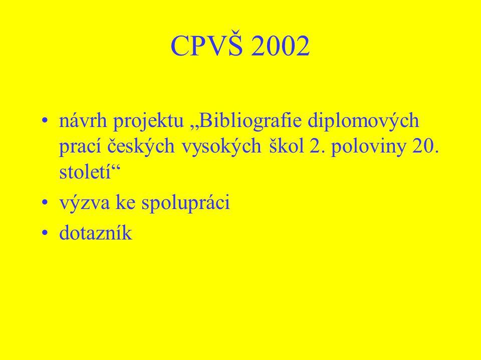"CPVŠ 2002 návrh projektu ""Bibliografie diplomových prací českých vysokých škol 2. poloviny 20. století"" výzva ke spolupráci dotazník"
