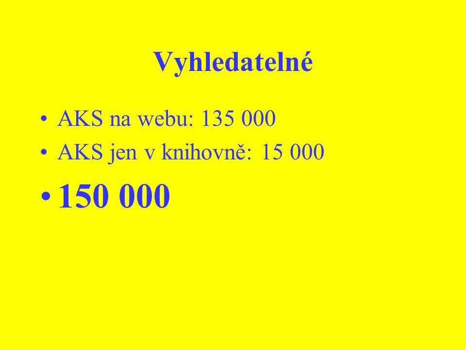 Vyhledatelné AKS na webu: 135 000 AKS jen v knihovně: 15 000 150 000