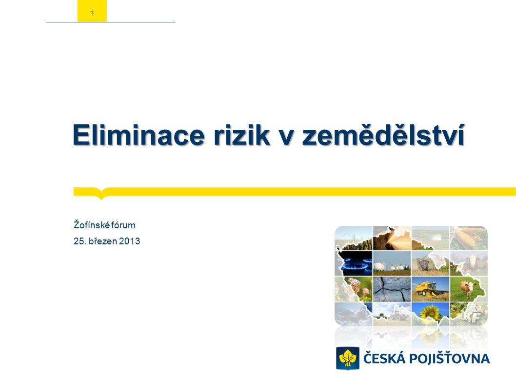 Eliminace rizik v zemědělství Žofínské fórum 25. březen 2013 1