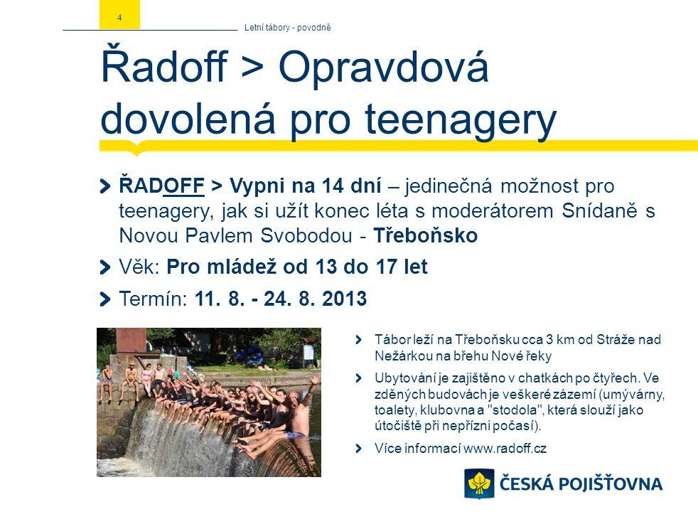 Řadoff > Opravdová dovolená pro teenagery ŘADOFF > Vypni na 14 dní – jedinečná možnost pro teenagery, jak si užít konec léta s moderátorem Snídaně s N