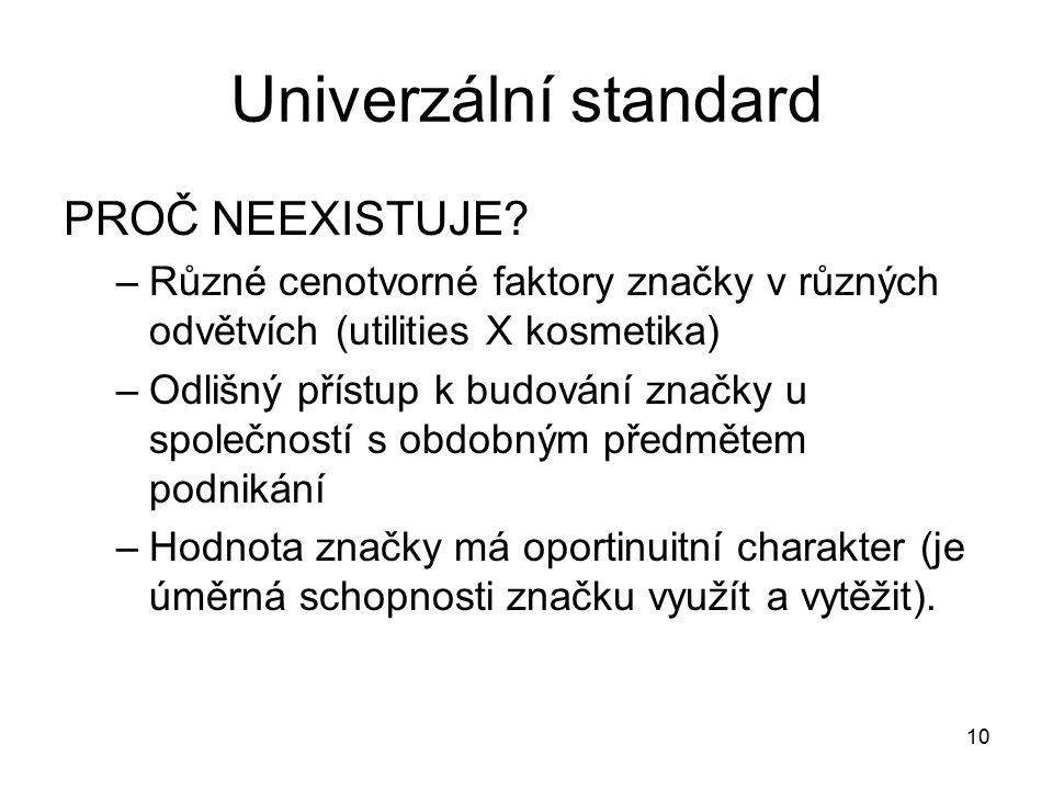 Univerzální standard PROČ NEEXISTUJE? –Různé cenotvorné faktory značky v různých odvětvích (utilities X kosmetika) –Odlišný přístup k budování značky