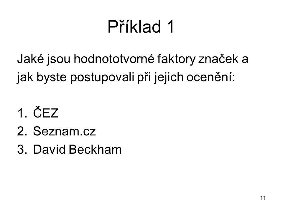 Příklad 1 Jaké jsou hodnototvorné faktory značek a jak byste postupovali při jejich ocenění: 1.ČEZ 2.Seznam.cz 3.David Beckham 11