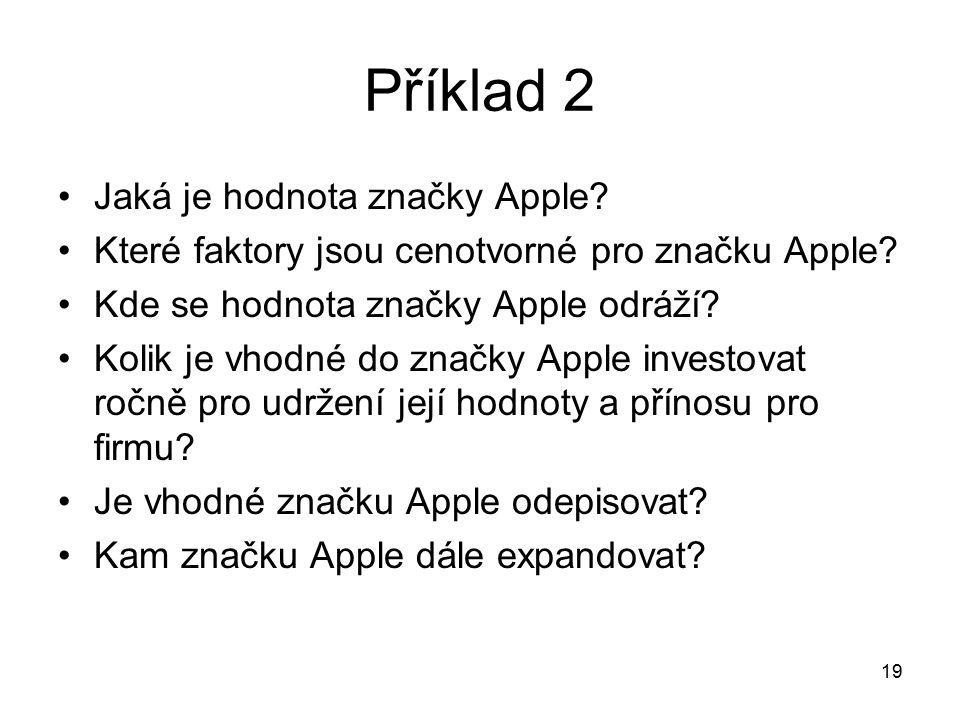 Příklad 2 Jaká je hodnota značky Apple? Které faktory jsou cenotvorné pro značku Apple? Kde se hodnota značky Apple odráží? Kolik je vhodné do značky