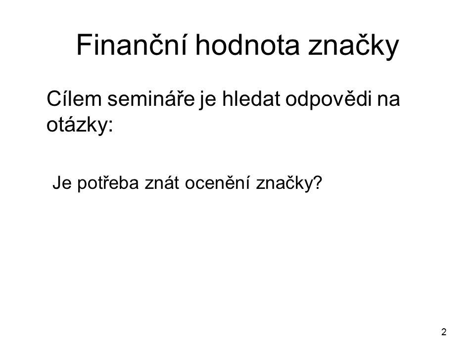 Finanční hodnota značky Cílem semináře je hledat odpovědi na otázky: Je potřeba znát ocenění značky? 2