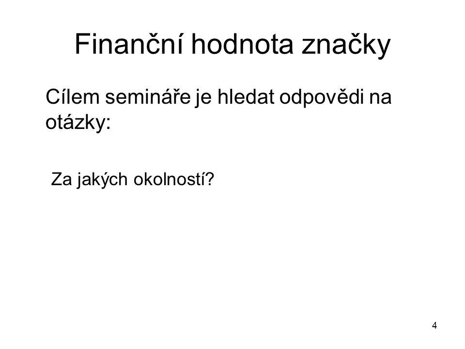 Finanční hodnota značky Cílem semináře je hledat odpovědi na otázky: Za jakých okolností? 4
