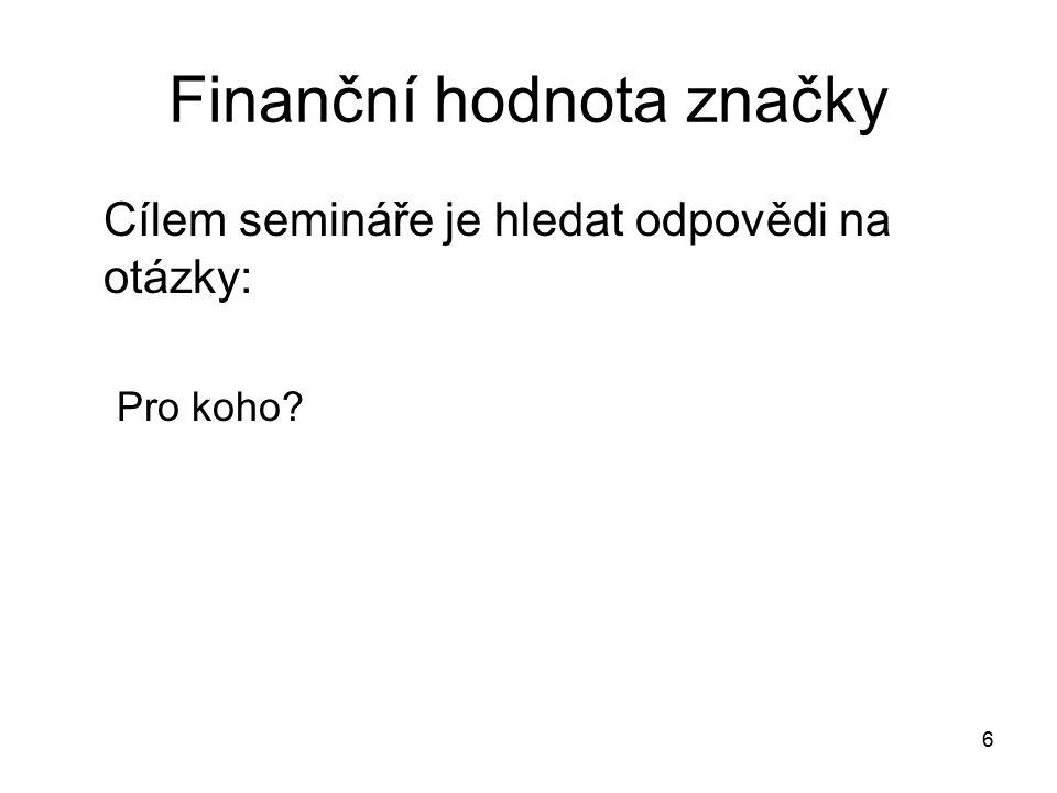 Finanční hodnota značky Cílem semináře je hledat odpovědi na otázky: Pro koho? 6