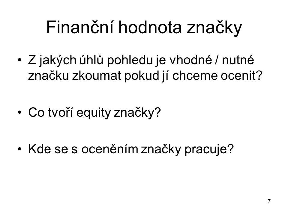 Finanční hodnota značky Z jakých úhlů pohledu je vhodné / nutné značku zkoumat pokud jí chceme ocenit? Co tvoří equity značky? Kde se s oceněním značk