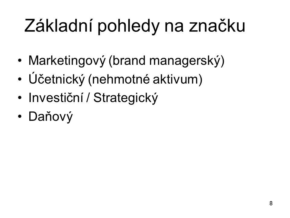 Základní pohledy na značku Marketingový (brand managerský) Účetnický (nehmotné aktivum) Investiční / Strategický Daňový 8