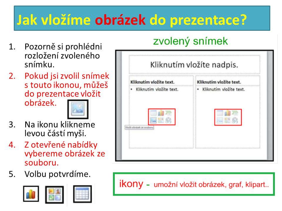 Jak vložíme obrázek do prezentace? 1.Pozorně si prohlédni rozložení zvoleného snímku. 2.Pokud jsi zvolil snímek s touto ikonou, můžeš do prezentace vl