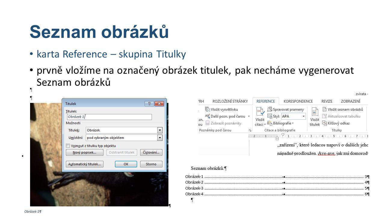 Seznam obrázků karta Reference – skupina Titulky prvně vložíme na označený obrázek titulek, pak necháme vygenerovat Seznam obrázků