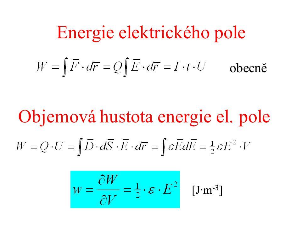 Energie elektrického pole obecně Objemová hustota energie el. pole [J·m -3 ]