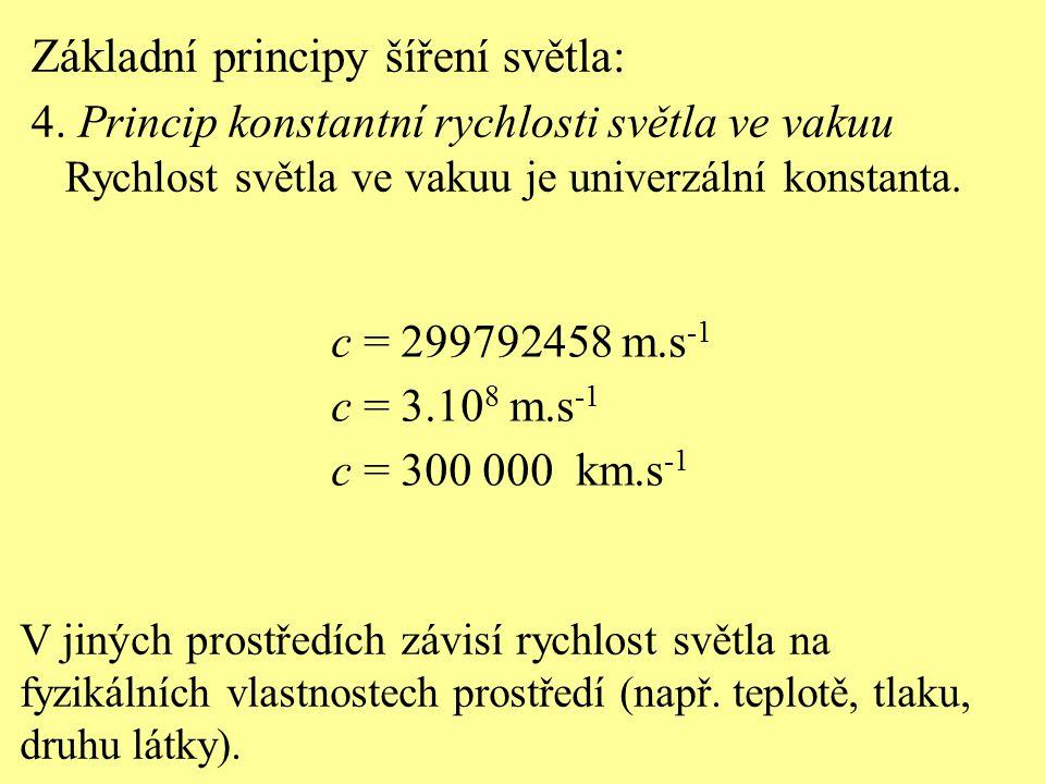 Základní principy šíření světla: 4. Princip konstantní rychlosti světla ve vakuu Rychlost světla ve vakuu je univerzální konstanta. c = 299792458 m.s