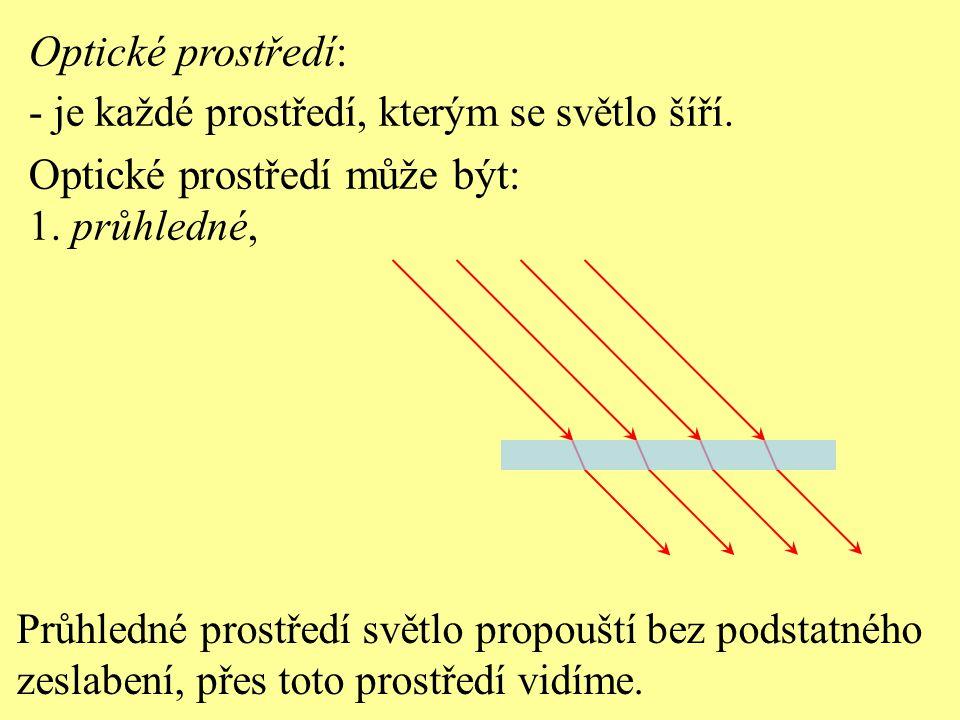 Optické prostředí: - je každé prostředí, kterým se světlo šíří. Optické prostředí může být: 1. průhledné, Průhledné prostředí světlo propouští bez pod