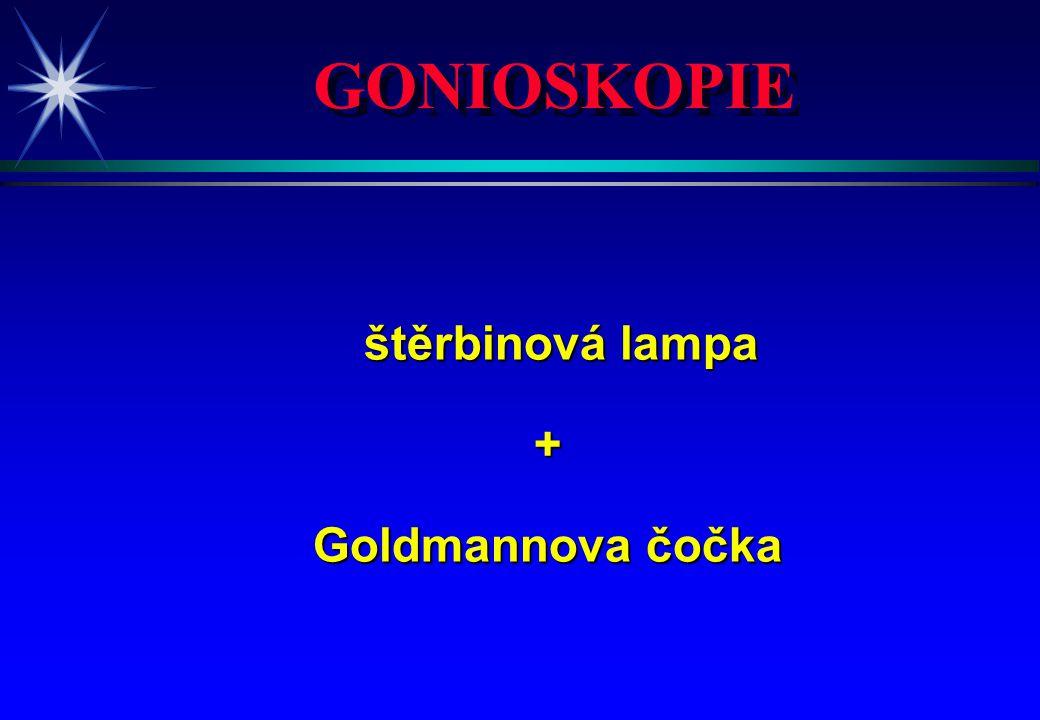 GONIOSKOPIE štěrbinová lampa štěrbinová lampa+ Goldmannova čočka