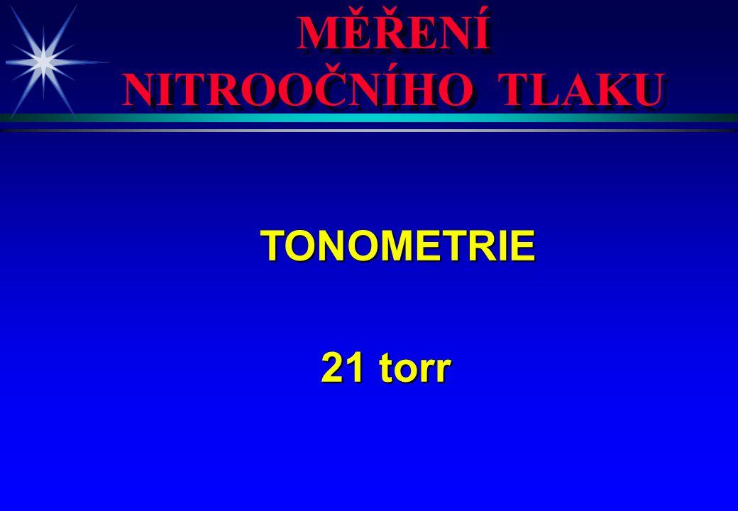 MĚŘENÍ NITROOČNÍHO TLAKU MĚŘENÍ NITROOČNÍHO TLAKU TONOMETRIE TONOMETRIE 21 torr