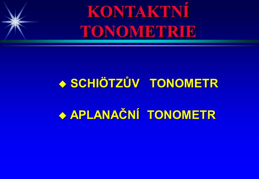 KONTAKTNÍ TONOMETRIE KONTAKTNÍ TONOMETRIE u SCHIÖTZŮV TONOMETR u APLANAČNÍ TONOMETR