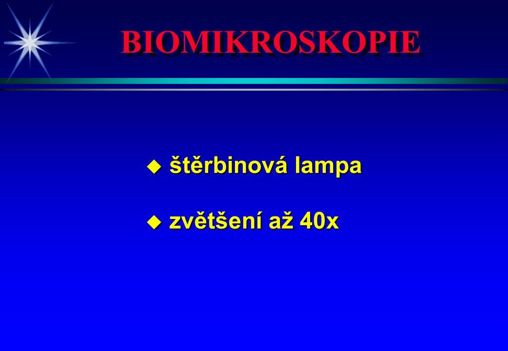 BIOMIKROSKOPIE u štěrbinová lampa u zvětšení až 40x