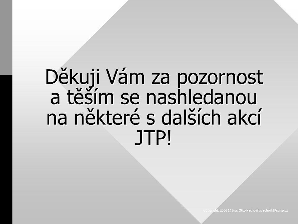 Děkuji Vám za pozornost a těším se nashledanou na některé s dalších akcí JTP! Copyright, 2000 © Ing. Otto Pacholík, pacholik@comp.cz