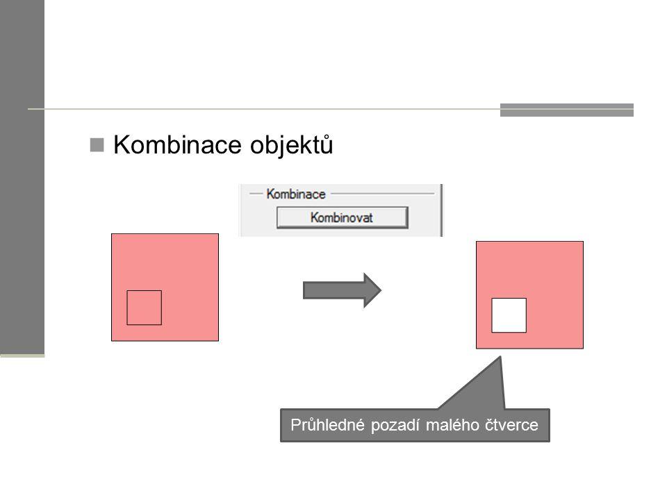 Kombinace objektů Průhledné pozadí malého čtverce