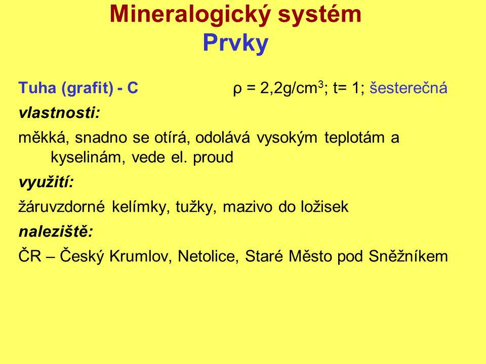 Mineralogický systém Prvky Tuha (grafit) - Cρ = 2,2g/cm 3 ; t= 1; šesterečná vlastnosti: měkká, snadno se otírá, odolává vysokým teplotám a kyselinám,