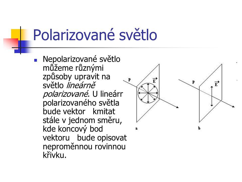 Polarizované světlo Nepolarizované světlo můžeme různými způsoby upravit na světlo lineárně polarizované.