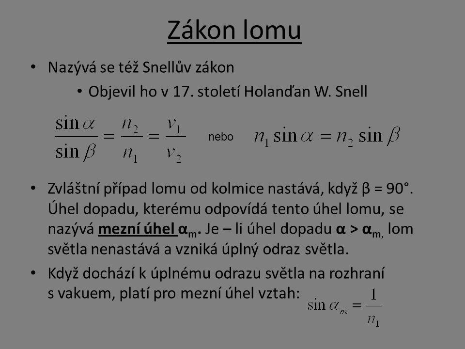 Zákon lomu Nazývá se též Snellův zákon Objevil ho v 17. století Holanďan W. Snell Zvláštní případ lomu od kolmice nastává, když β = 90°. Úhel dopadu,