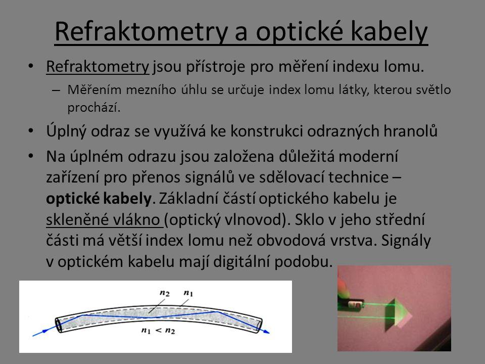 Refraktometry a optické kabely Refraktometry jsou přístroje pro měření indexu lomu. – Měřením mezního úhlu se určuje index lomu látky, kterou světlo p