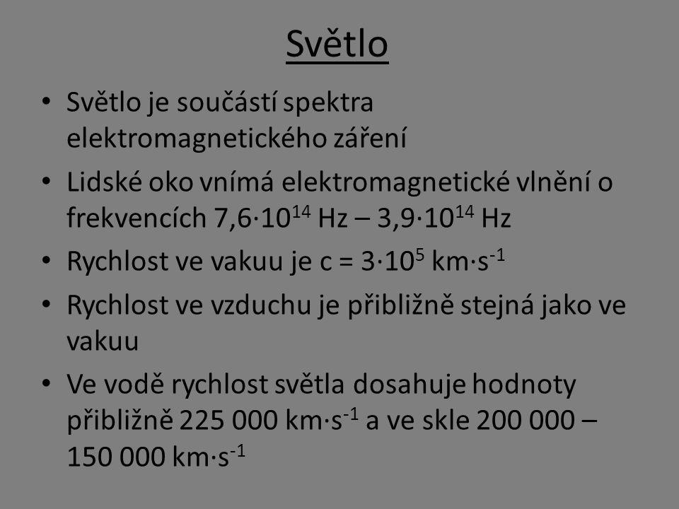 Světlo Světlo je součástí spektra elektromagnetického záření Lidské oko vnímá elektromagnetické vlnění o frekvencích 7,6·10 14 Hz – 3,9·10 14 Hz Rychlost ve vakuu je c = 3·10 5 km·s -1 Rychlost ve vzduchu je přibližně stejná jako ve vakuu Ve vodě rychlost světla dosahuje hodnoty přibližně 225 000 km·s -1 a ve skle 200 000 – 150 000 km·s -1