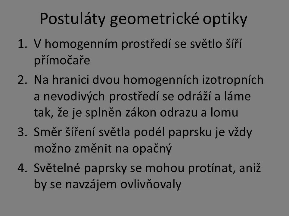 Postuláty geometrické optiky 1.V homogenním prostředí se světlo šíří přímočaře 2.Na hranici dvou homogenních izotropních a nevodivých prostředí se odráží a láme tak, že je splněn zákon odrazu a lomu 3.Směr šíření světla podél paprsku je vždy možno změnit na opačný 4.Světelné paprsky se mohou protínat, aniž by se navzájem ovlivňovaly