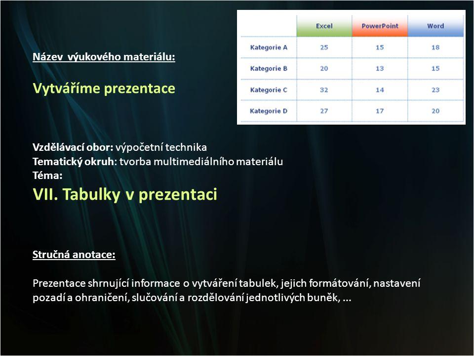 Název výukového materiálu: Vytváříme prezentace Vzdělávací obor: výpočetní technika Tematický okruh: tvorba multimediálního materiálu Téma: VII.
