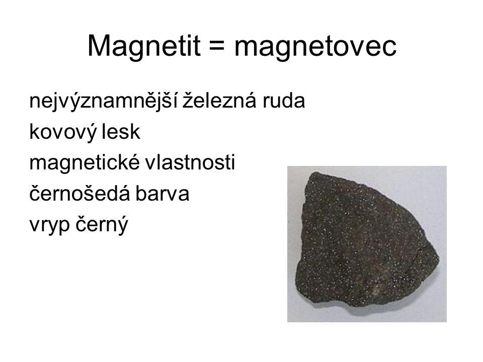 Magnetit = magnetovec nejvýznamnější železná ruda kovový lesk magnetické vlastnosti černošedá barva vryp černý