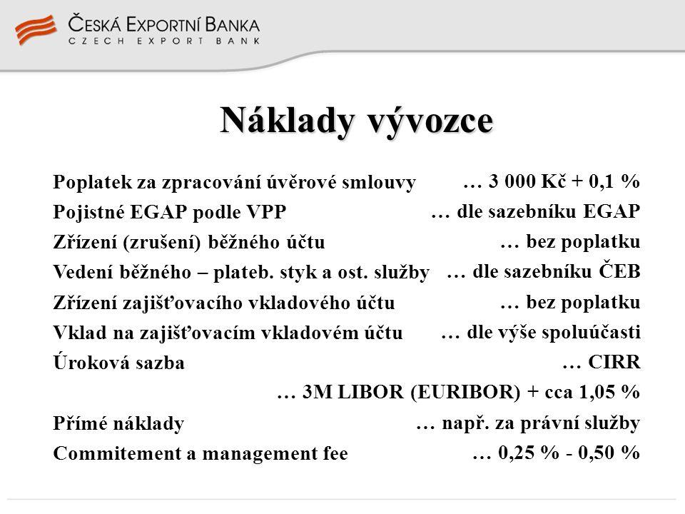 Náklady vývozce Poplatek za zpracování úvěrové smlouvy Pojistné EGAP podle VPP Zřízení (zrušení) běžného účtu Vedení běžného – plateb. styk a ost. slu