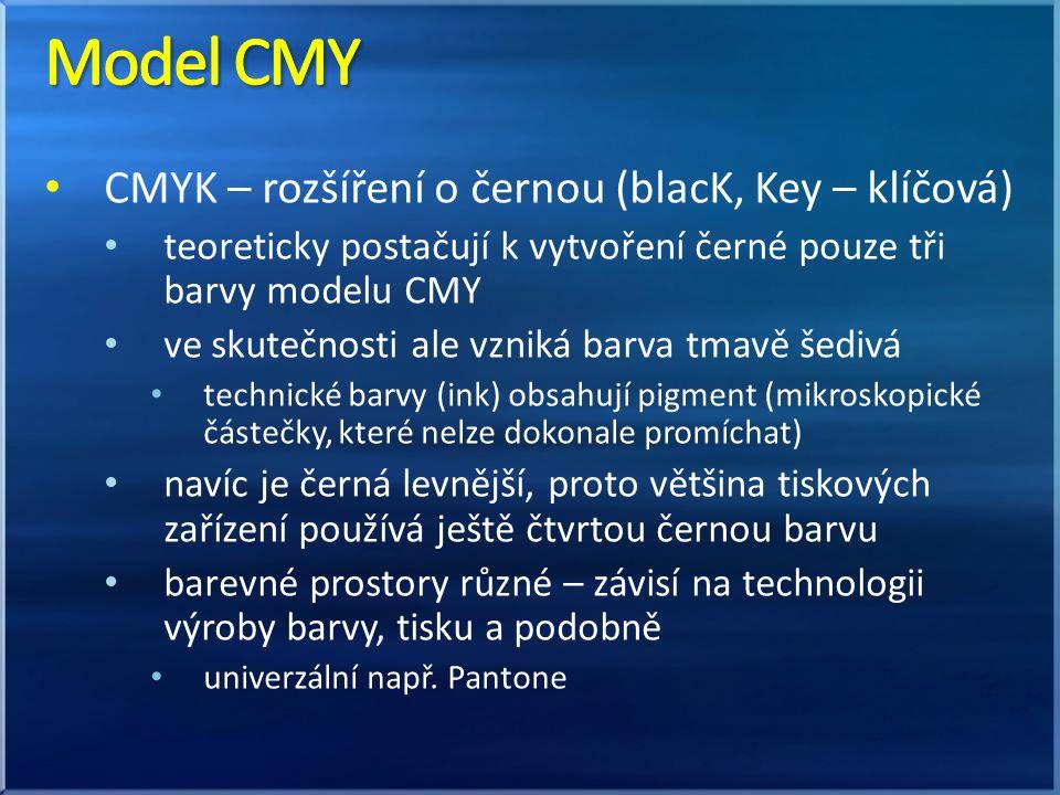 CMYK – rozšíření o černou (blacK, Key – klíčová) teoreticky postačují k vytvoření černé pouze tři barvy modelu CMY ve skutečnosti ale vzniká barva tma