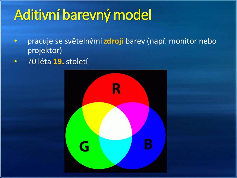 pracuje se světelnými zdroji barev (např. monitor nebo projektor) 70 léta 19. století