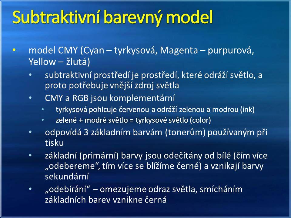 model CMY (Cyan – tyrkysová, Magenta – purpurová, Yellow – žlutá) subtraktivní prostředí je prostředí, které odráží světlo, a proto potřebuje vnější z