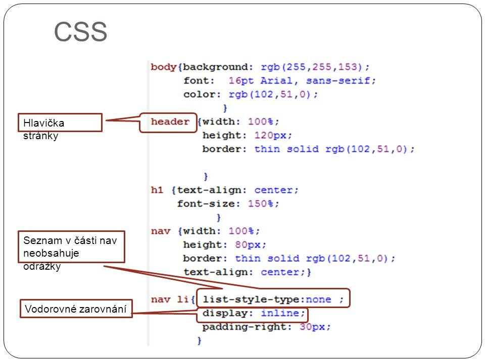 CSS Hlavička stránky Seznam v části nav neobsahuje odrážky Vodorovné zarovnání