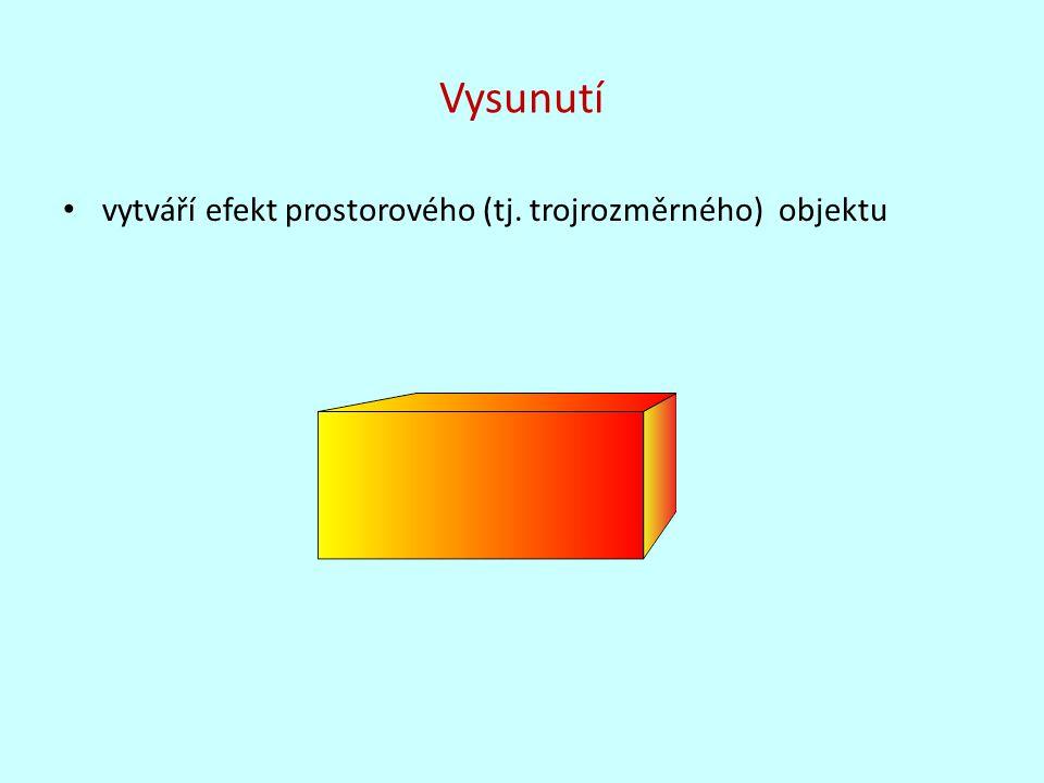 Vysunutí vytváří efekt prostorového (tj. trojrozměrného) objektu