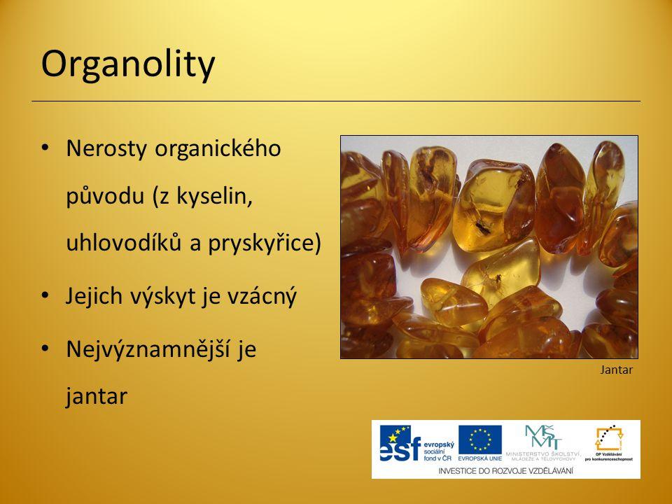 Organolity Nerosty organického původu (z kyselin, uhlovodíků a pryskyřice) Jejich výskyt je vzácný Nejvýznamnější je jantar Jantar