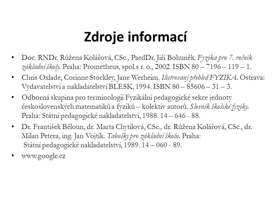 Zdroje informací Doc. RNDr. Růžena Kolářová, CSc., PaedDr. Jiří Bohuněk. Fyzika pro 7. ročník základní školy. Praha: Prometheus, spol.s r. o., 2002. I