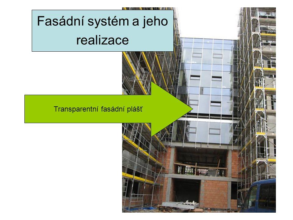 Fasádní systém a jeho realizace Transparentní fasádní plášť Fasádní systém a jeho realizace