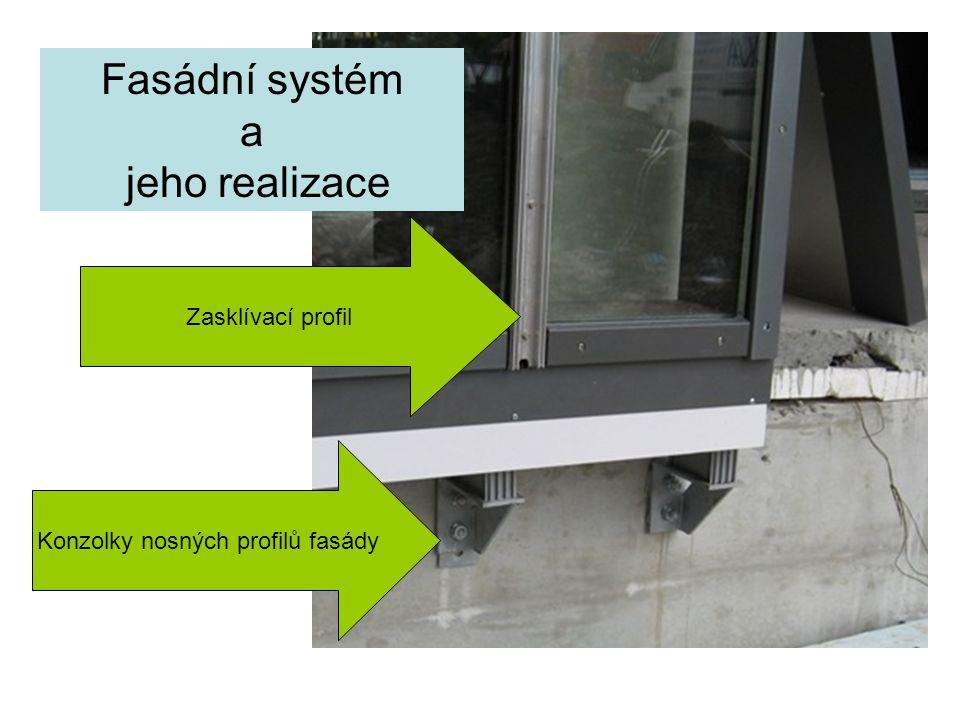 Fasádní systém a jeho realizace Konzolky nosných profilů fasády Zasklívací profil