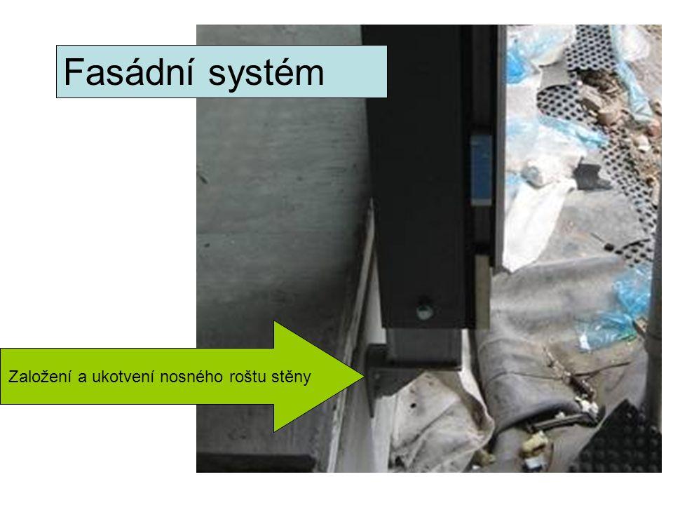 Fasádní systém Založení a ukotvení nosného roštu stěny
