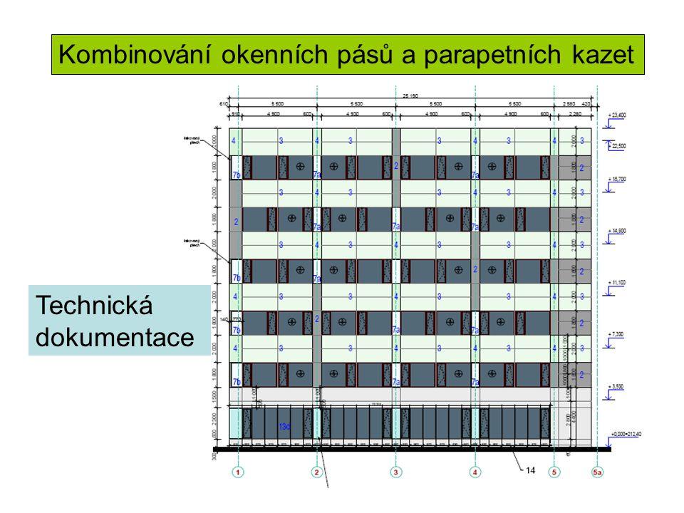 Kombinování okenních pásů a parapetních kazet Technická dokumentace